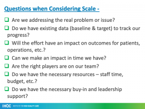 questions when considering scale